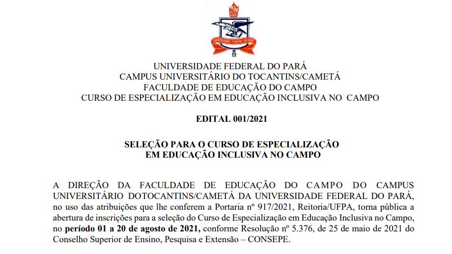 EDITAL 001/2021 SELEÇÃO PARA O CURSO DE ESPECIALIZAÇÃO EM EDUCAÇÃO INCLUSIVA NO CAMPO