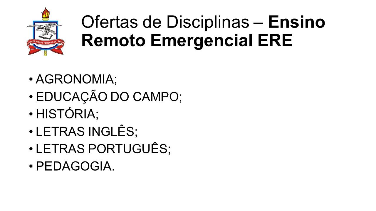OFERTAS DE DISCIPLINAS NO ENSINO REMOTO EMERGENCIAL